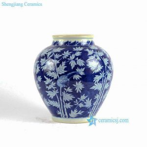 RYLU85 Hand painted blue and white bamboo pattern japanese jar urn without lid