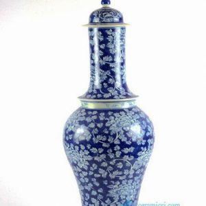 RYLU86 Extraordinary unique shape hand paint peony pattern blue and white large ginger vase jar