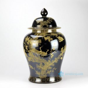 RYLW15 Mirror black glazed gold gilded crane hand paint porcelain large ginger jar