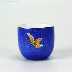 RYMY21-A/B famille rose butterfly pattern needle painting blue background gold gilded edge hand paint chinaware tea cup