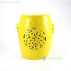 RYNQ177-B Lemon yellow glazed solid color hollow out ceramic stool living room furniture sale