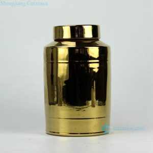 RYNQ180 Golden gilded flat lid chinaware tin jar