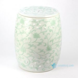 RYNQ183 Embossed celadon floral pattern ceramic outdoor drum stool
