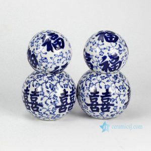 RYPU23-B Double happiness and good fortune letter pattern blue and white ceramic ball