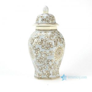 RYPU34 six-faced floral pattern Oriental furnishing light blue ginger jar