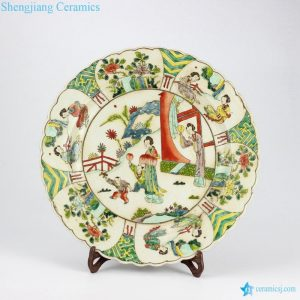 RYQQ35-OLD Antique famille rose hand painted Chinese ancient ladies pattern pottery plates