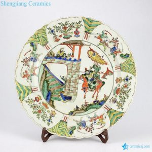RYQQ36-OLD Antique Chinese famille rose shallow ceramic plate