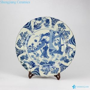 RYQQ44 Blue and white hand painted Chinese ancient ladies pattern ceramic dish