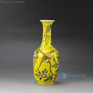 RYRK22 Famille rose glazed hand painted bird grape floral pattern yellow decorative vase