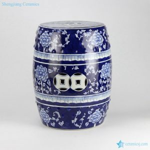 RYTA08-B Blue and white floral pattern ceramic end table stool