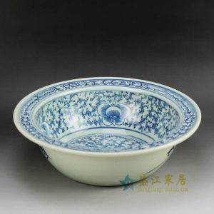 RYVM23 Blue and white antique style floral pattern planter bowl