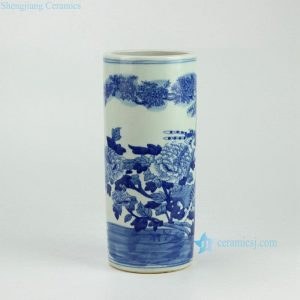 RYWD14 Blue and white straight slim tube shaped hand paint bird floral pattern chinaware quvier pen container