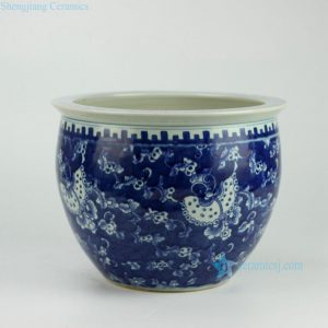 RYWD17 Hand painted blue and white large ceramic plant pot vat
