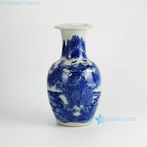 RYWI18 Hand painted Chinese ancient landscape pattern blue and white home decoration vases