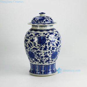 RYWI19 Blue and white interlock branch floral pattern chinaware chinese jar