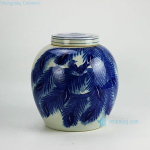 RYWI20 Hand painted blue and white bird leaves pattern porcelain urn with lid