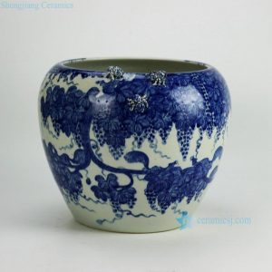 RYWI21 Hand paint blue and white squirrel grape pattern sculpture spider large ceramic plant pot