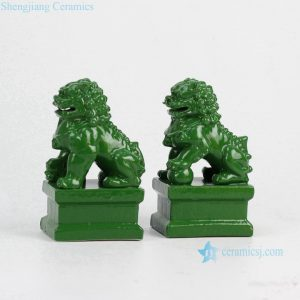 RYXP02-h Jade color glazed ceramic display ornament lion figurine