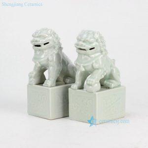 RYXP21-G Celadon ceramic lion statue
