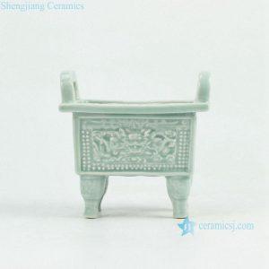 RYXP34 Plain color celadon glazed inlaid chinese dragon engraved pattern quadripod incense burner