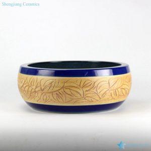 RYXW-YL-DZ-01 Indigo glaze ground leaves carving pattern bathroom wash sink laundry