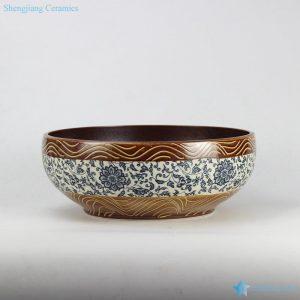 RYXW-YL-DZ-02 Blue and white floral pattern round garden outdoor ceramic sink