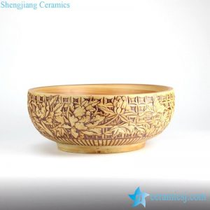 RYXW-YL-DZ-04 Yellow ivory relief sculpture of floral pattern ceramic vessel sink bowl vanity