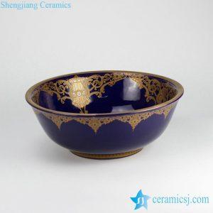 RYXW-YL-DZ-07 Indigo blue glazed morocco style golden pattern household ceramic sanitary sets