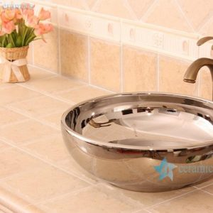 RYXW693 Single layer silver mirror glazed simple style counter top sink