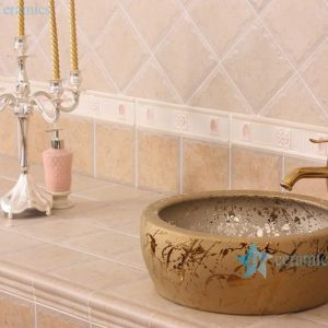 RYXW695 Golden thicken wall round ceramic indoor sink basin