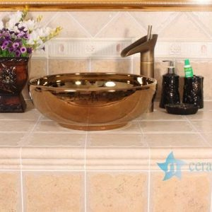 RYXW696 Golden mirror glazed ceramic restaurant wash basin