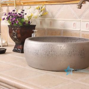 RYXW697 Silver color floral stamping surface round bathroom lavabo basin