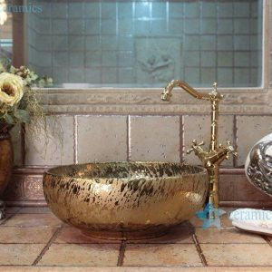 RYXW699 Gold bright surface wholesale ceramic cabinet top wash hand basin