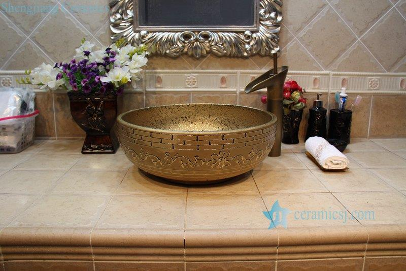 RYXW704-R8014 RYXW704 RYXW710 Golden/Silver plated floral embossed pattern marble closet top ceramic wash sink basin - shengjiang  ceramic  factory   porcelain art hand basin wash sink