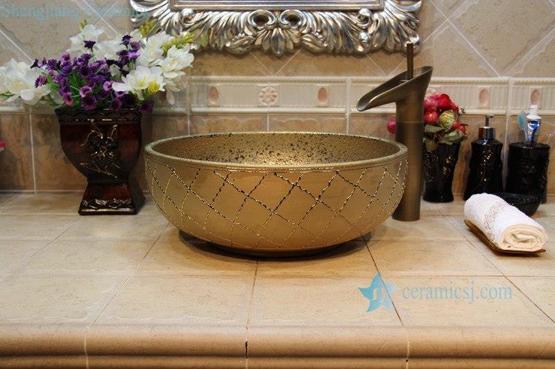 RYXW705-R8015 RYXW705 RYXW709 Grids embossed surface glided bathroom ceramic sink - shengjiang  ceramic  factory   porcelain art hand basin wash sink