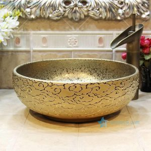 RYXW706 Embossed auspicious clouds surface golden glazed round toilet wash hand sink basin