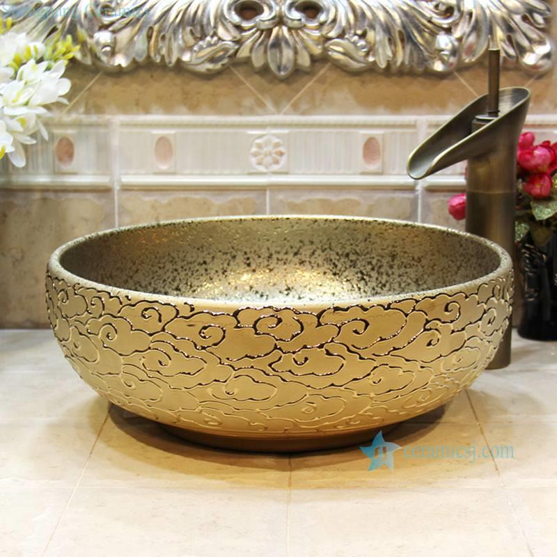 RYXW706-R8016 RYXW706 Embossed auspicious clouds surface golden glazed round toilet wash hand sink basin - shengjiang  ceramic  factory   porcelain art hand basin wash sink