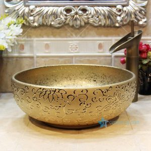 RYXW707 Golden floral surface modern kitchen designs ceramic sink bowl