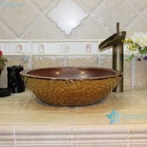 RYXW708 Rough copper glazed inside golden water wave outside big open mouth basin bowl