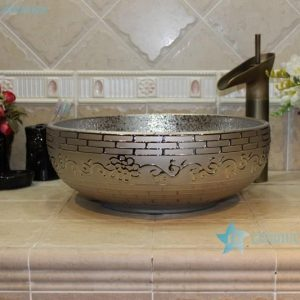 RYXW704 RYXW710 Golden/Silver plated floral embossed pattern marble closet top ceramic wash sink basin