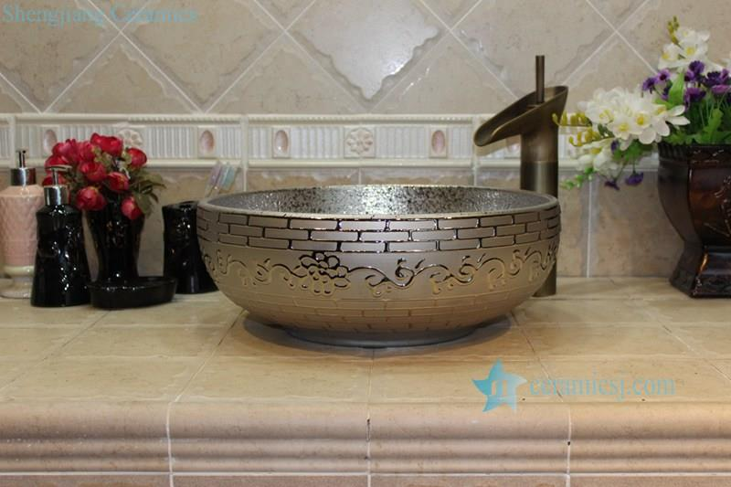 RYXW710-R8020 RYXW704 RYXW710 Golden/Silver plated floral embossed pattern marble closet top ceramic wash sink basin - shengjiang  ceramic  factory   porcelain art hand basin wash sink
