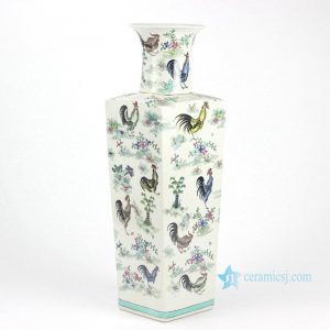 RYYQ02 Rectangular body open mouth hand paint colorful roosters pattern enamel porcelain big vases
