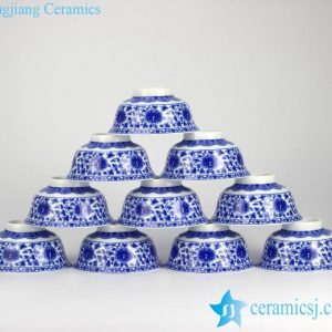 RYYY35-B Blue and white high heel lotus interlock branch pattern dinnerware bowls