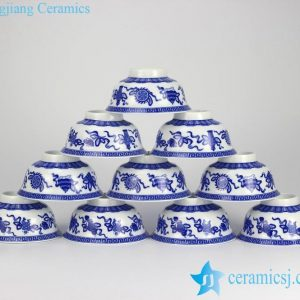 RYYY35-C Wholesale the eight immortals' treasures pattern blue and white ceramic bowls