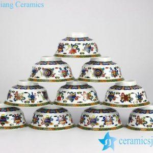 RYYY35-D Colorful chinese eight treasures pattern underglazed white porcelain rice bowls