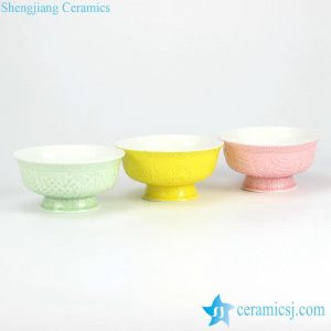 RYYY36 Plain color glazed engraved eight treasures pattern high heel ceramic dinnerware set