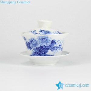 RYYY38-A Peony flower pattern blue and white gaiwan