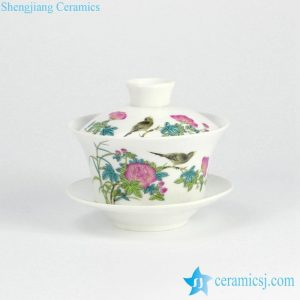 RYYY38-E Flower bird pattern exquisite porcelain tea bowl with lid and tray
