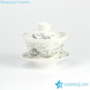 RYYY38-F Winter snow landscape pattern ceramic tea tureen