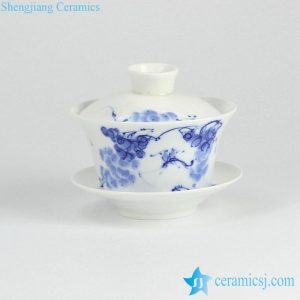 RYYY38-I Blue and white ceramic grape and pair bird pattern tea gaiwan